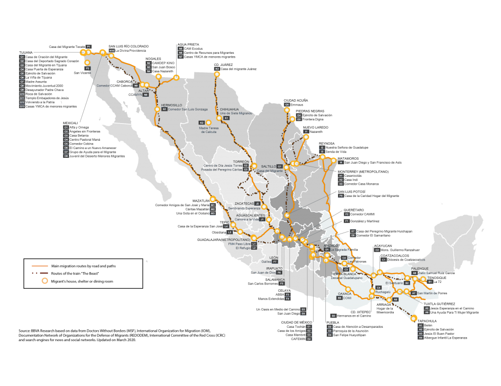 Main routes and shelters for migrants in Mexico 2020
